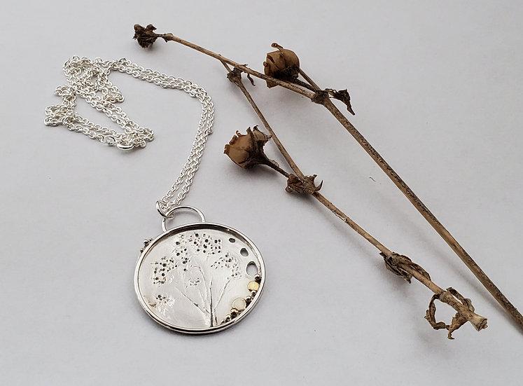 Silver, gold, grass impressed pendant