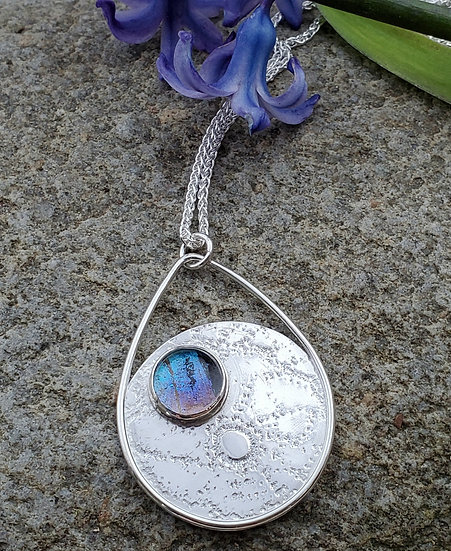 Silver, glass set butterfly wing pendant