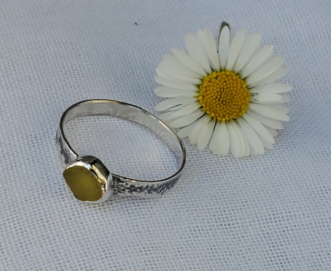 Silver ring, yellow seaglass