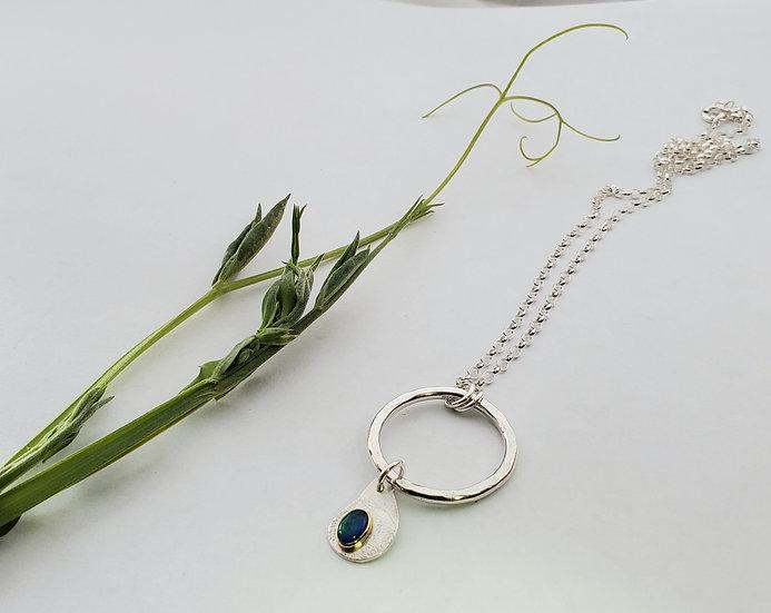 Silver ring, gold set opal triplet pendant