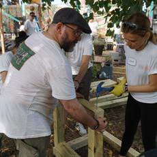 Volunteers Building Planter Benches