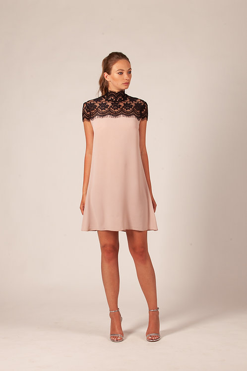 Lace collar a line dress