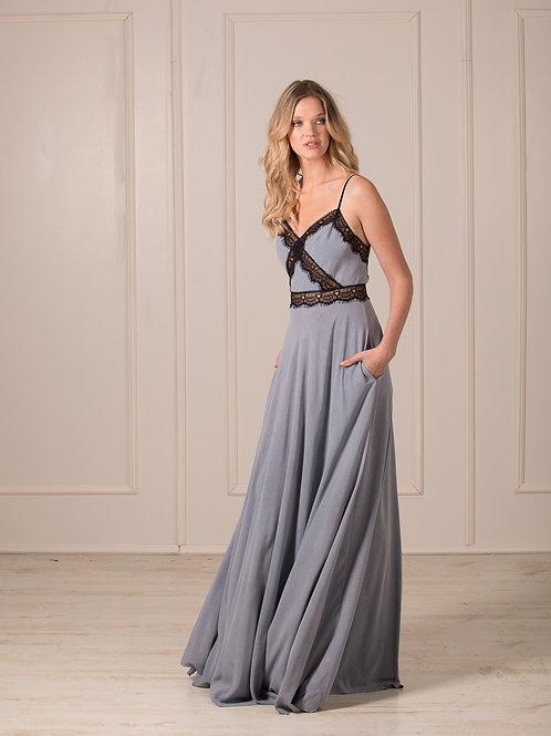 Lace maxi dress open back