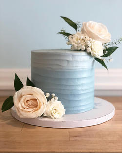 Rustic Light Blue Ombre with Florals