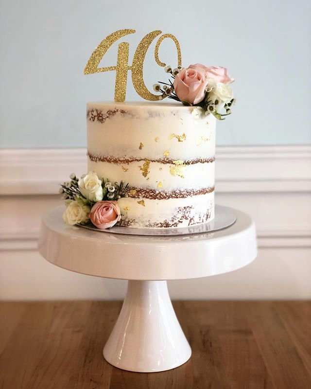 Naked Cake with Fresh Florals & Gold Leaf