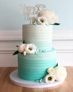 Teal Ombre with Florals