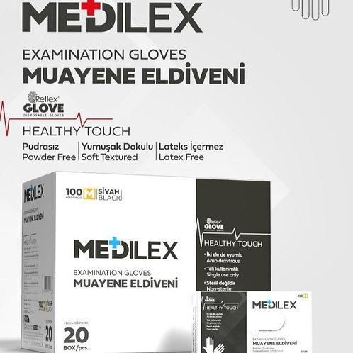 Reflex Medilex Pudrasız Eldiven Siyah 1 Koli