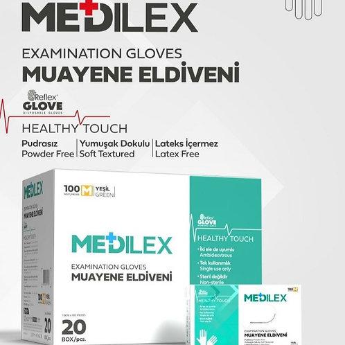 Reflex Medilex Pudrasız Eldiven Yeşil 1 Koli