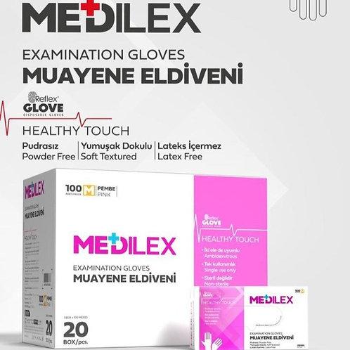 Reflex Medilex Pudrasız Eldiven Pembe 1 Koli