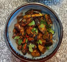 Crispy spicy lamb & aubergine