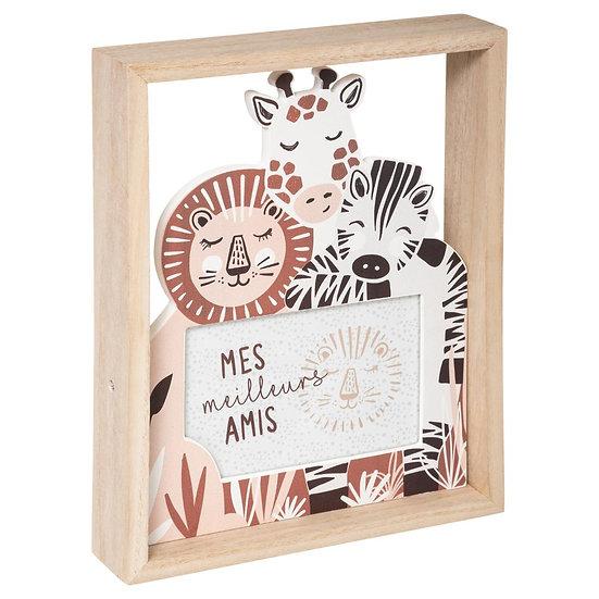 Cornice portafoto in legno con animali