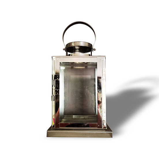 Lanterna in metallo cromato e vetro