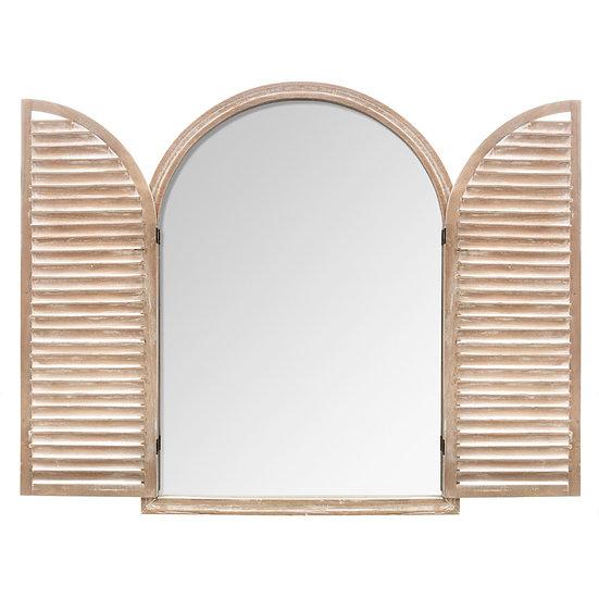 Specchio a forma di finestra con ante in legno naturale