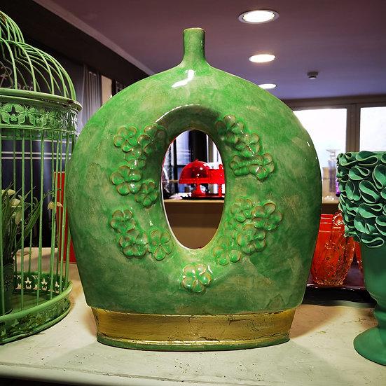 Vaso in ceramica con motivi floreali, verde con dettagli dorati
