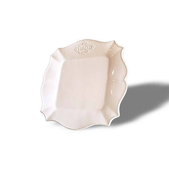 Vacchetti Giuseppe Set 4 Piatti piani quadrati in ceramica modello Decò