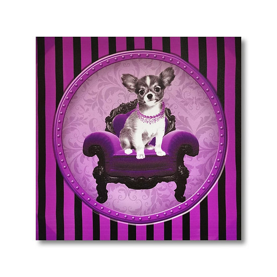Quadro in tela con stampa cani in stile vintage