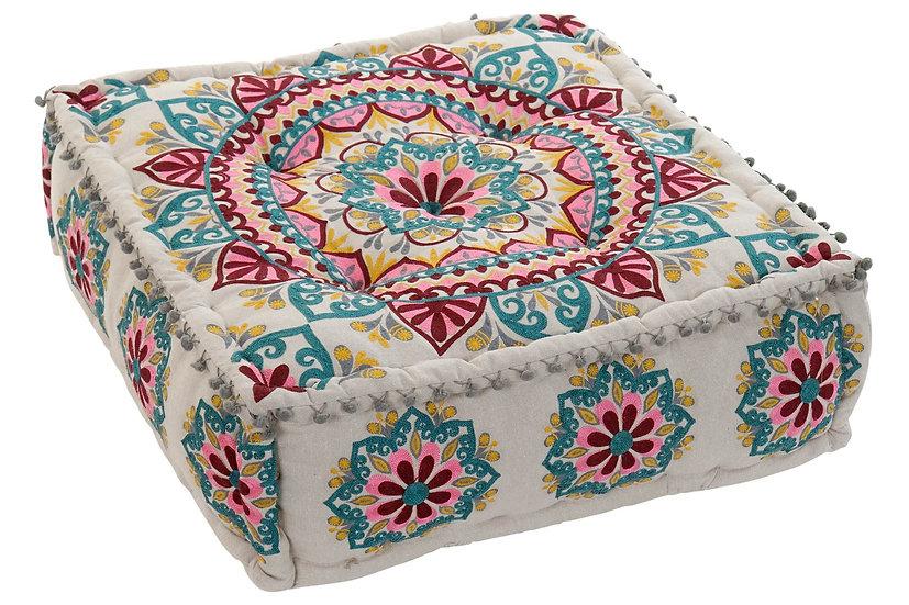 Cuscino da pavimento in cotone con mandala ricamato