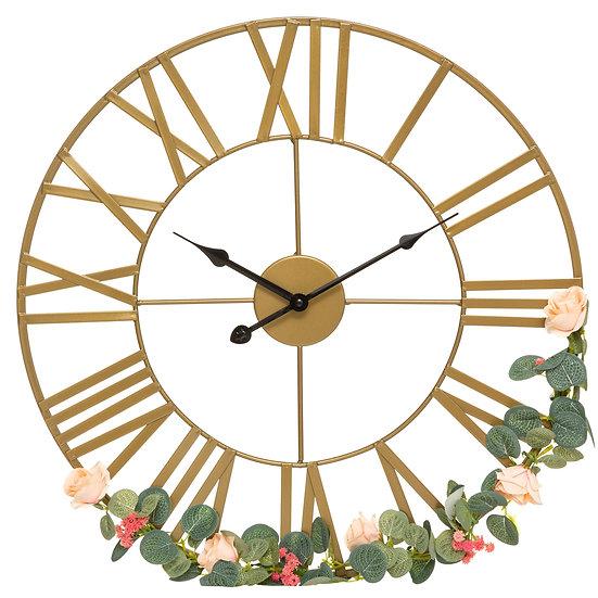 Orologio vintage in metallo con decorazione floreale D50