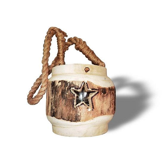 Lanterna Portacandela in vetro e legno con incisione Stella
