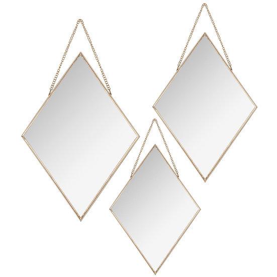 Set di 3 specchi a forma di diamante con catena in 2 colori
