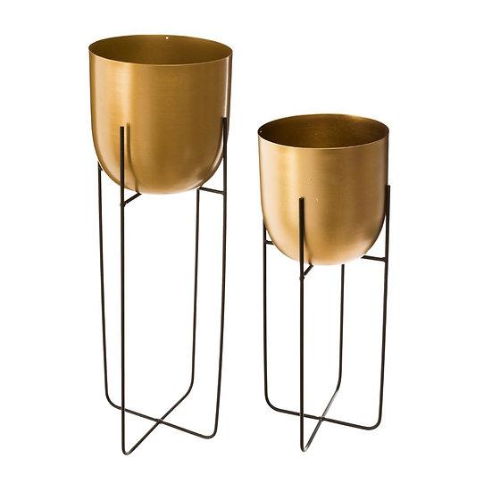 Set di 2 Vasi in metallo dorato con supporto