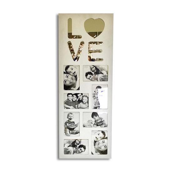Portafoto da parete bianco in legno con scritta LOVE