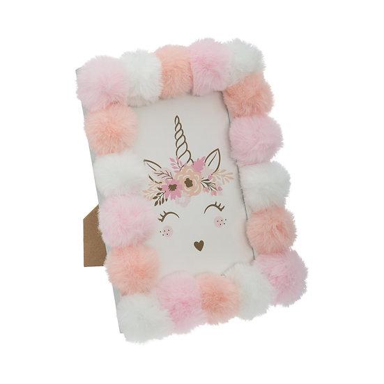 Cornice portafoto modello Unicorno con ponpon
