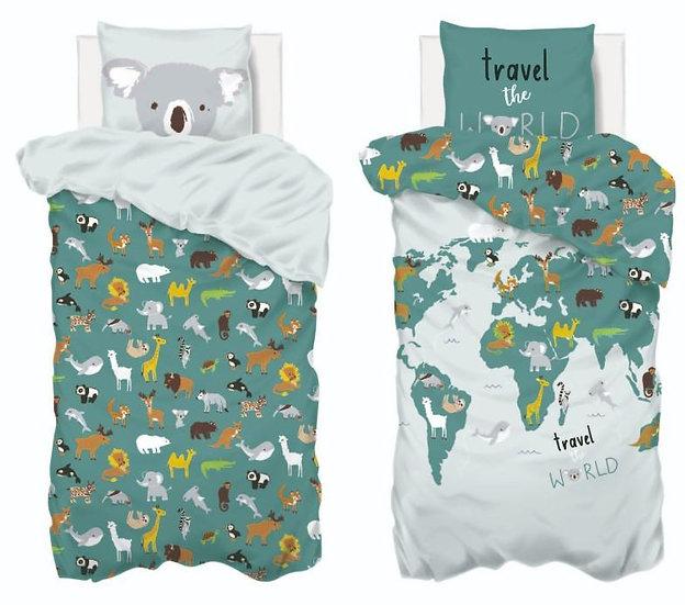 Copriletto per bambini modello Mappa del mondo
