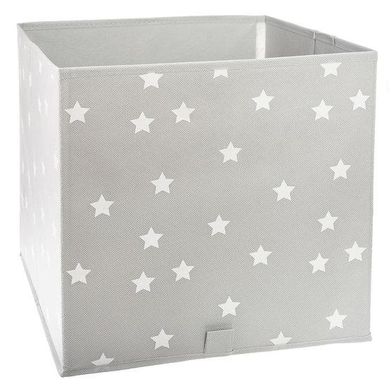 Cestino portaoggetti grigio con stelle