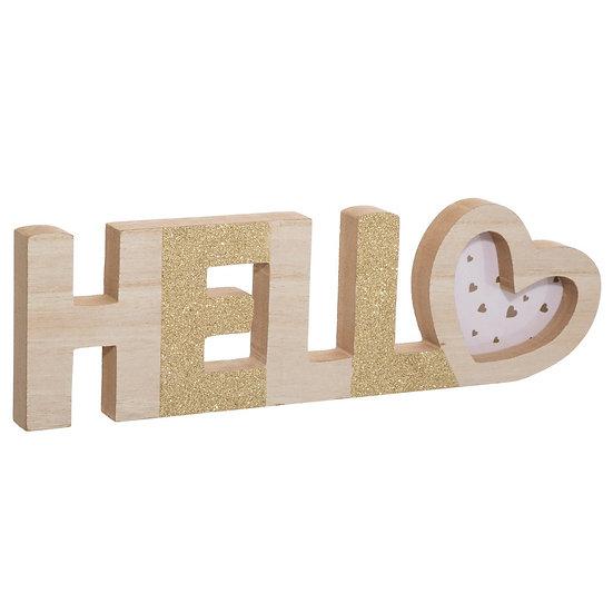 Cornice portafoto in legno scritta Hello