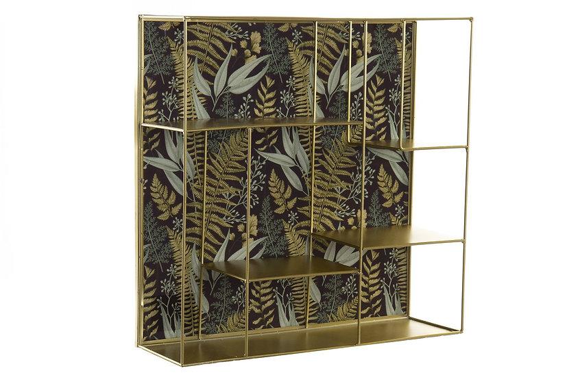 Libreria squadrata in metallo dorato e cristallo con motivo foglie