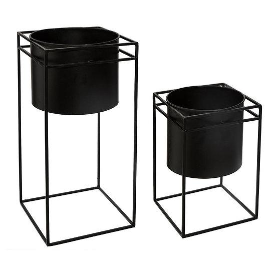 Set di 2 Vasi con Supporto in Metallo