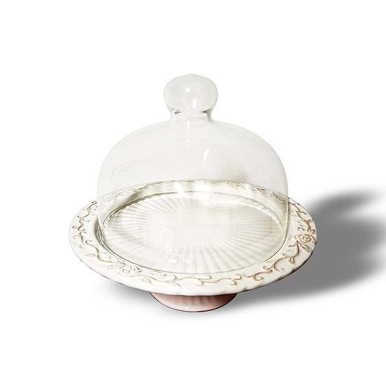 EDG Enzo De Gasperi Alzata in ceramica con campana in vetro modello Elba