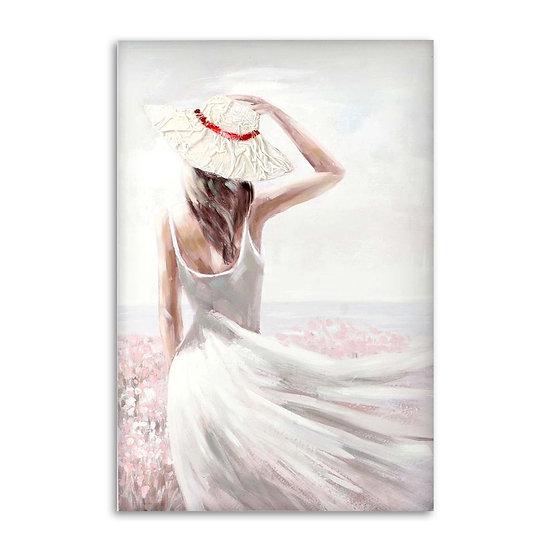 Quadro in tela con dipinto donna in 2 versioni.
