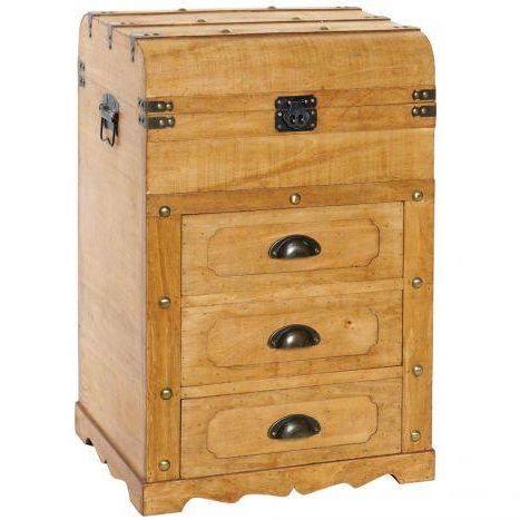 Cassettiera in legno naturale 3 cassetti