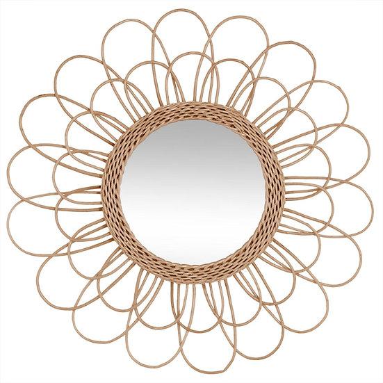 Specchio a forma di fiore in rattan D56