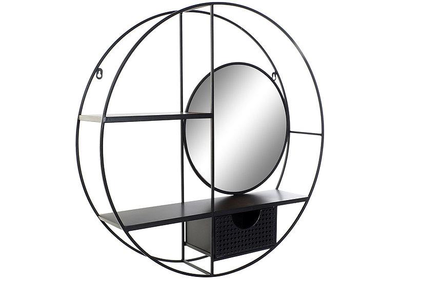 Libreria in metallo con specchio, colore nero