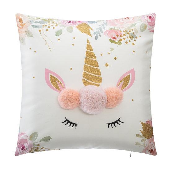 Cuscino a forma di Unicorno con ponpon