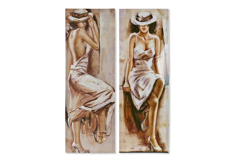 Item Quadro in tela con dipinto ragazza in 2 versioni.