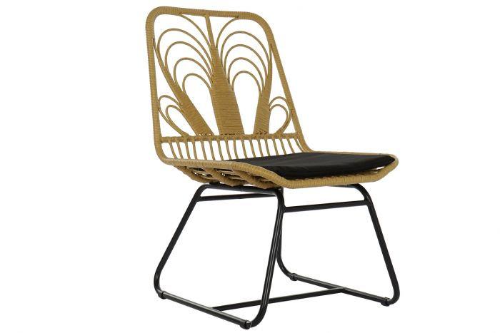 Sedia da giardino in rattan, metallo e poliestere, colore legno naturale
