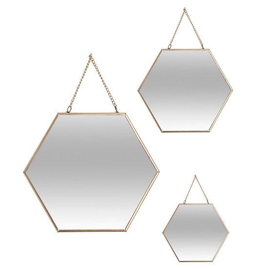 Set di 3 specchi esagonali in vetro e metallo in 2 colori