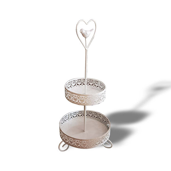 Alzatina per dolci a 2 piani in metallo