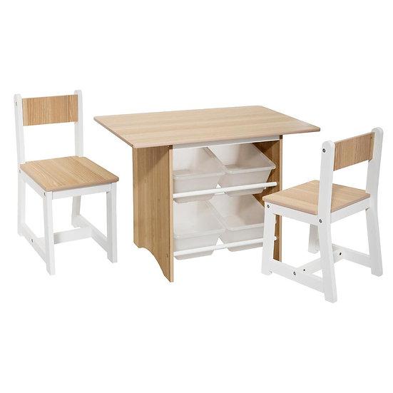 Tavolo con 4 contenitori e 2 sedie