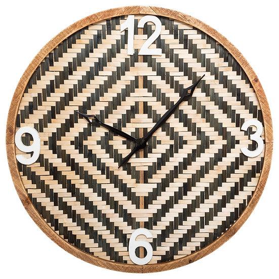 Orologio di legno con motivo intrecciato D63