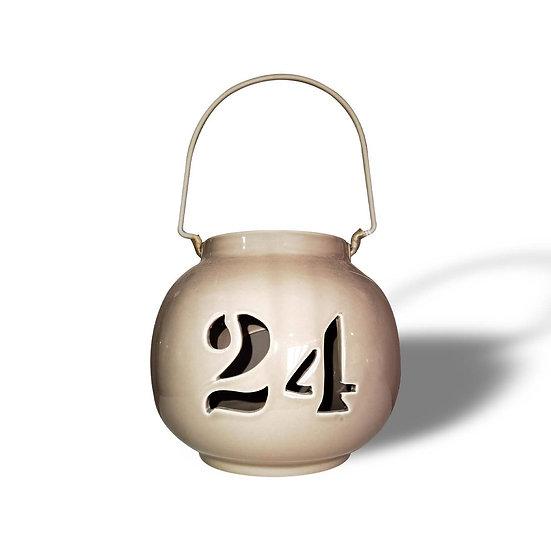 Lanterna portacandela in ceramica, con numero 24