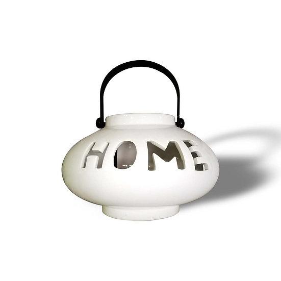 H&S Decorations Lanterna in ceramica con incisione HOME