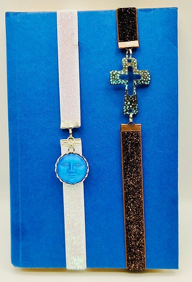 Beauty of The Heavens Bookmarks: Iridescent Blue Moon Face & Turquoise Cross