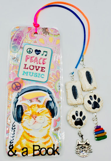 Peace Love Music & A Book With Tabby In Headphones Bookmark Gift
