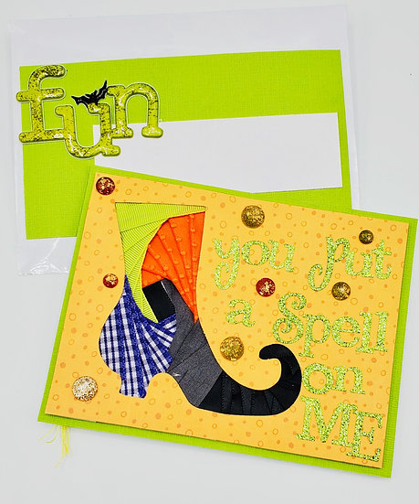 You Put A Spell On Me Witch On Broom w/Black Cat Greeting Card