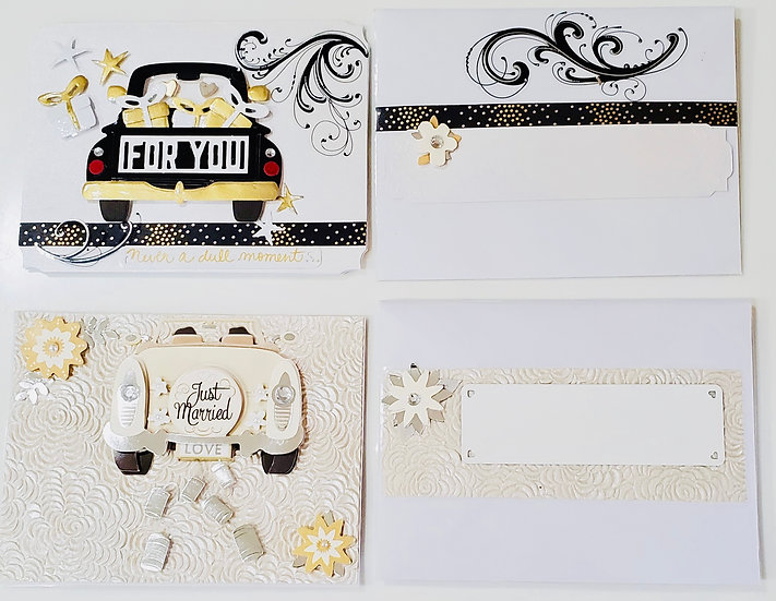 2 Auto Wedding Cards: For You Never Dull Moment...Adventure Begins/Just Married